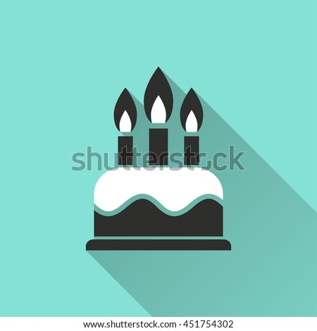 Cake vector icon with long shadow. White illustration isolated on green background for graphic and web design.