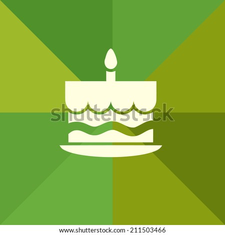 cake vector sign on green mosaic background - stock vector