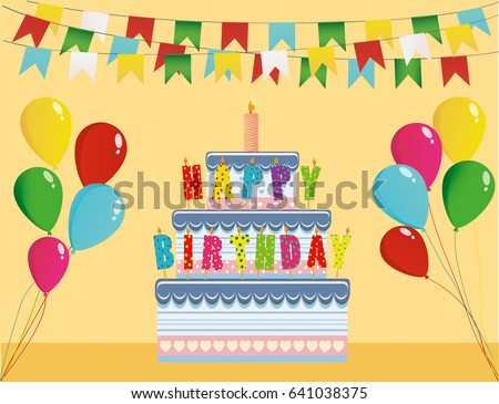 Cake With Candle Letters Happy Birthday And Balloons Greeting Card Or Invitation For A Holiday