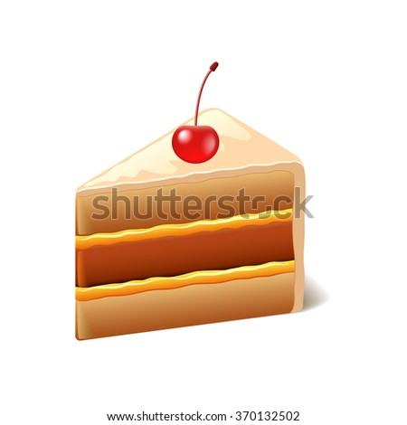 Cake with cherry isolated on white photo-realistic vector illustration - stock vector