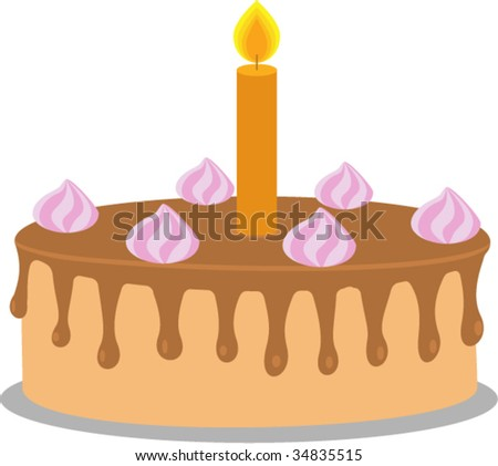 Cake with chocolate glaze and a candle.  Isolated Vector Illustration.