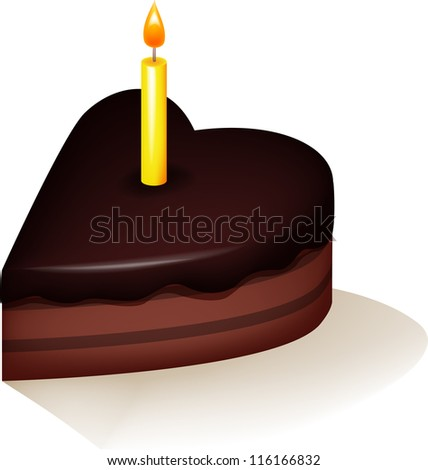 Cake with yellow candle - stock vector