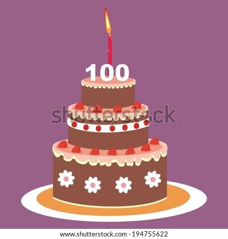 cake,100 years  - stock vector