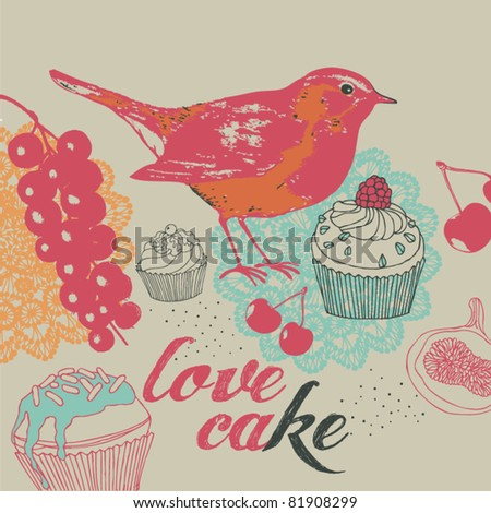 Cakes and berrys background - stock vector