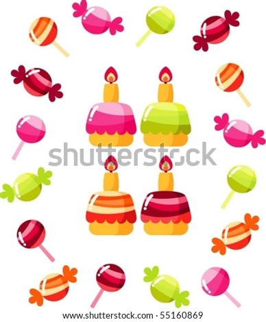 cakes and sweets - stock vector