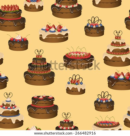 Cakes beige pattern. Vector illustration