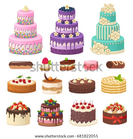 cakes icons collection vector illustration different stock vector 681822055 shutterstock. Black Bedroom Furniture Sets. Home Design Ideas