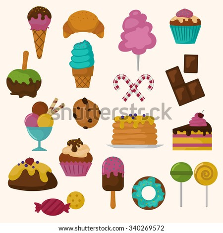 Cakes icons vector set on white background. Cakes bakery dessert vector illustration. Cake for birthday, wedding and holidays. Food sweet cakes. Cupcake, cream, bakery cake. Sweet bakery cakes icons - stock vector