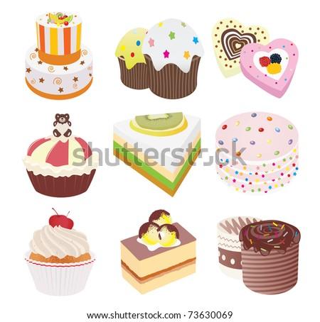 Cakes. Set. Vector illustration - stock vector