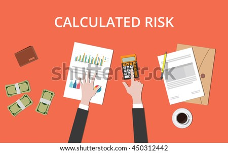 calculated risk concept with businessman hand on table with graph chart money and paper document vector graphic illustration - stock vector