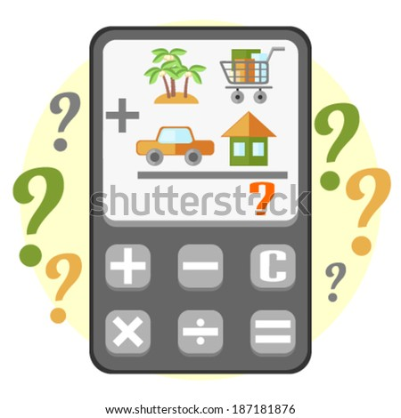 Calculating of household budget - stock vector