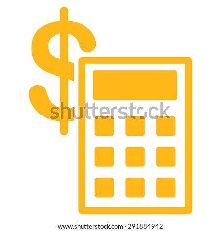 Calculation icon from Commerce Set. Vector style: flat symbol, yellow color, rounded angles, white background. - stock vector