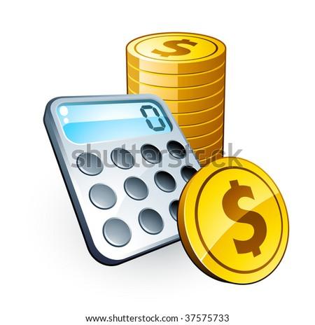 Calculator and dollar coins - stock vector
