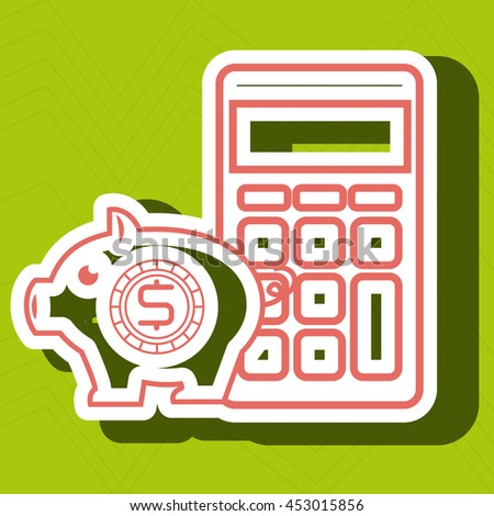 calculator and piggy isolated icon design, vector illustration  graphic  - stock vector