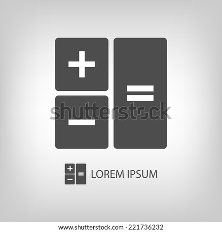 Calculator as logo with copyspace in grey colors - stock vector