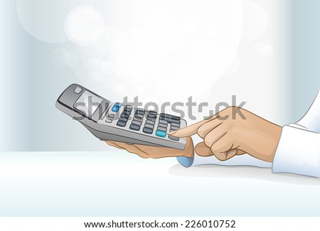 calculator business woman accountant hand, concept finance with copy space vector illustration - stock vector