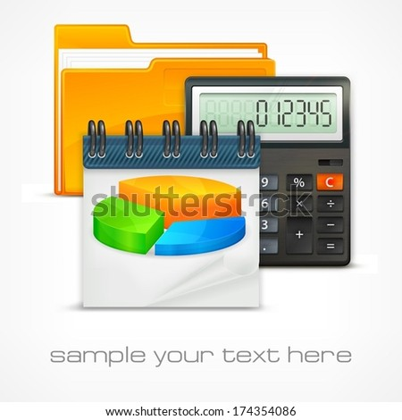Calculator & diagram with folder and text, economical concept, vector illustration - stock vector