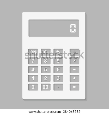 Calculator icon, cut from white paper on a gray background. Vector illustration.