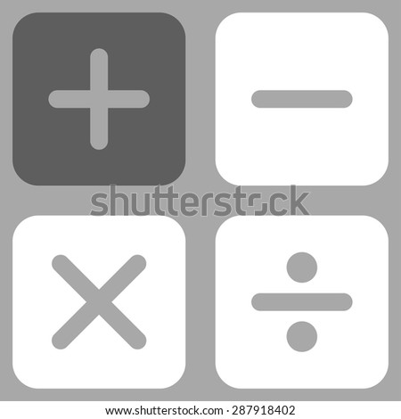 Calculator icon from Business Bicolor Set. This flat vector symbol uses dark gray and white colors, rounded angles, and isolated on a silver background.