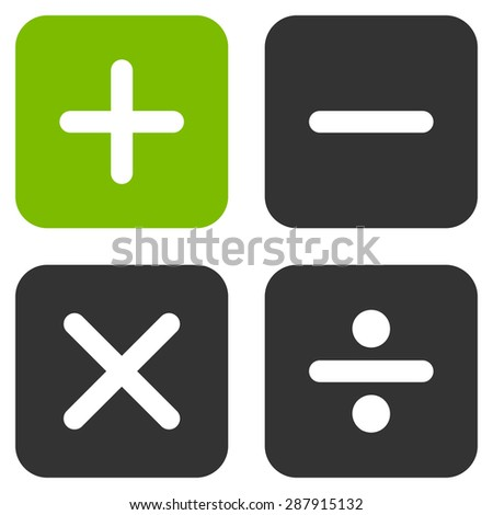 Calculator icon from Business Bicolor Set. This flat vector symbol uses eco green and gray colors, rounded angles, and isolated on a white background. - stock vector