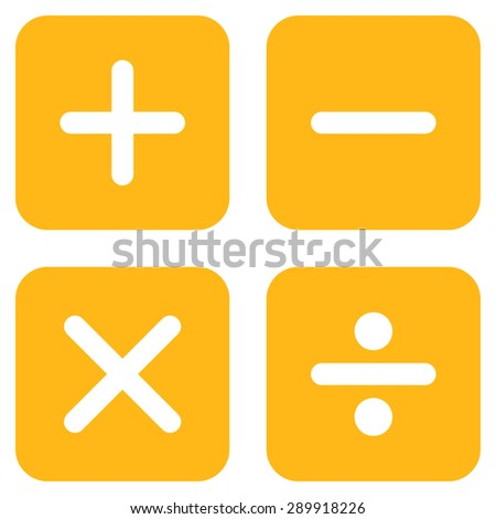 Calculator icon from Business Bicolor Set. This flat vector symbol uses yellow color, rounded angles, and isolated on a white background. - stock vector