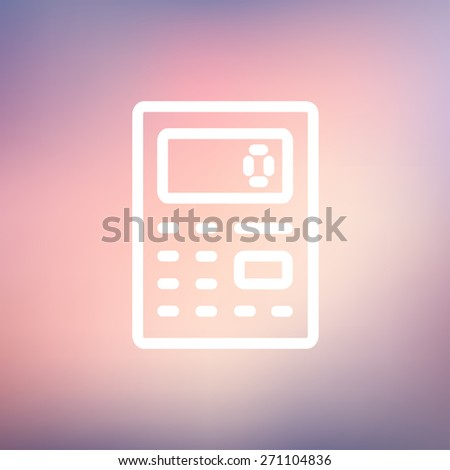 Calculator icon thin line for web and mobile, modern minimalistic flat design. Vector white icon on gradient mesh background. - stock vector