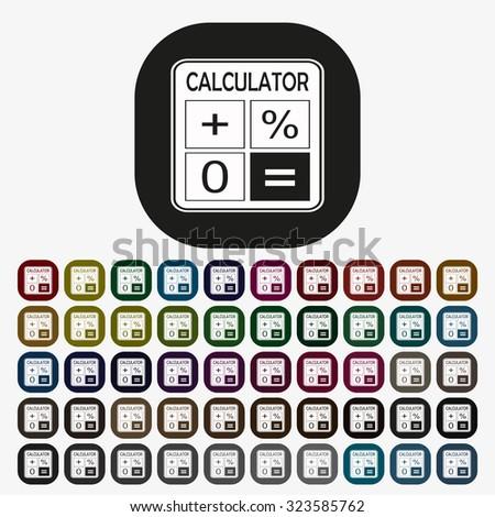 calculator. icon. vector design, set of colored buttons - stock vector