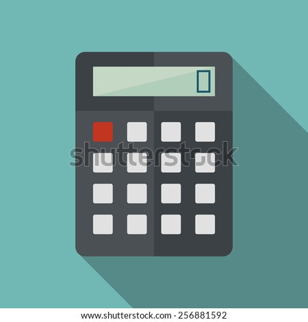 calculator icon with long shadow. flat style vector illustration - stock vector