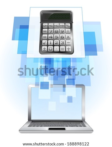calculator in laptop internet searching frame idea vector illustration