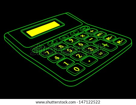 Calculator isolated on a black background with blank yellow screen with green lines - stock vector