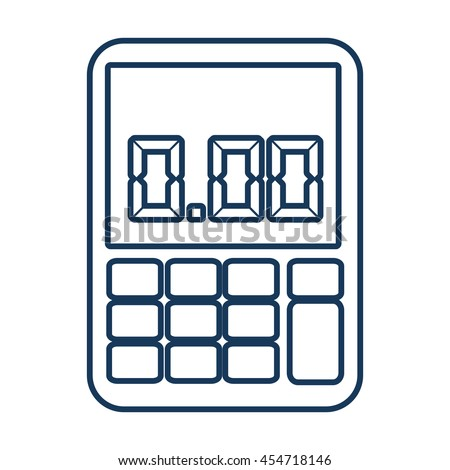 calculator math buttons blue icon, isolated flat design