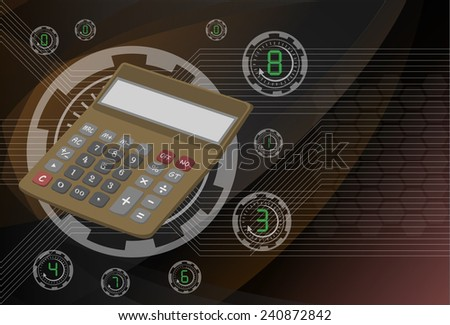 Calculator on background technologies, vector eps10 illustration. - stock vector