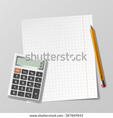 Calculator, sheet of paper and pencil lie on the table. Stock vector illustration. - stock vector