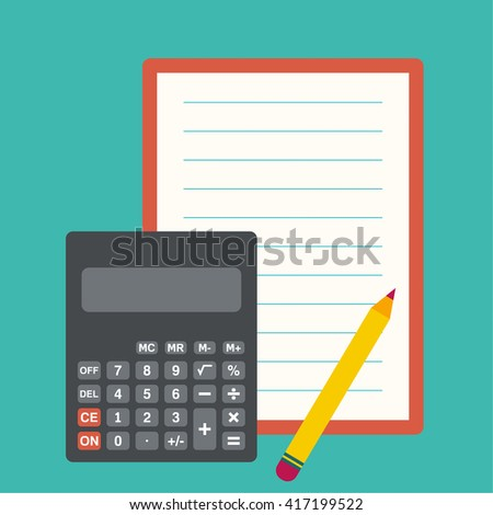 Calculator, sheets of paper and a pencil. The concept of counting and analysis, tax calculation, profit losses. - stock vector