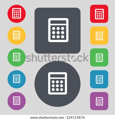 Calculator sign icon. Bookkeeping symbol. Set colour buttons. Vector illustration - stock vector