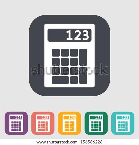 Calculator single flat icon. Vector illustration. - stock vector