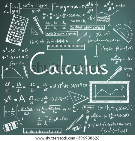 Calculus law theory and mathematical formula equation doodle handwriting icon in blackboard background with hand drawn model for education presentation or subject title, create by vector  - stock vector