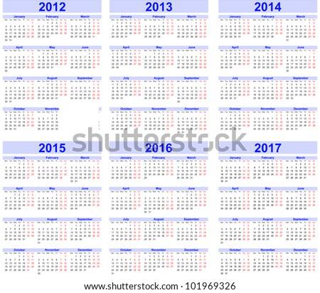 Calendar 2012, 2013, 2014, 2015, 2016, 2017 - stock vector