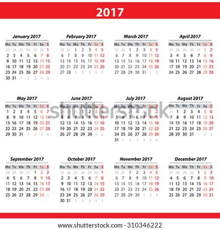 Calendar 2017 - stock vector