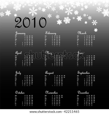 calendar 2010 - stock vector