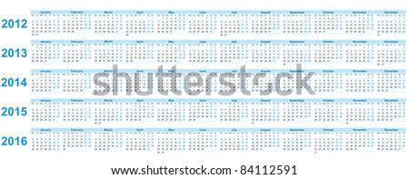 Calendar 2012, 2013, 2014, 2015, 2016 - stock vector