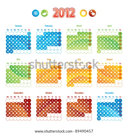 calendar 2012 - stock vector