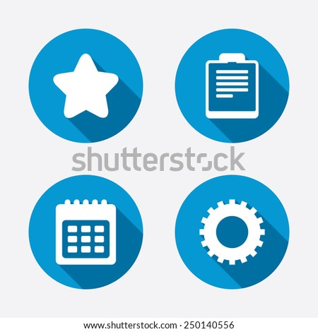 Calendar and Star favorite icons. Checklist and cogwheel gear sign symbols. Circle concept web buttons. Vector - stock vector