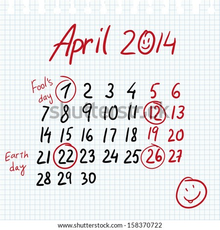 Calendar 2014 april in sketch style on notebook sheet with marked earth day and fools' day - stock vector