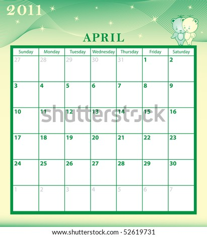 Calendar 2011 April month with large date boxes. Cartoon characters and patterned background. January to December months plus raster also available. - stock vector