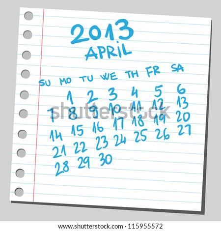 Calendar 2013 april (sketch style) - stock vector