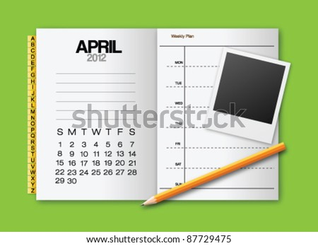Calendar 2012 April stationery vector - stock vector
