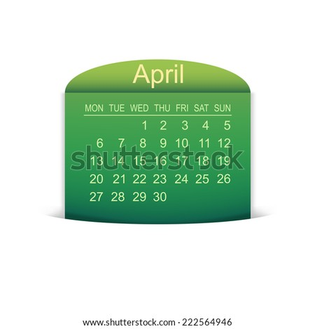 Calendar April 2015. Vector illustration  - stock vector