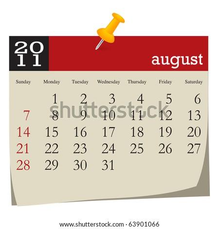Calendar-august 2011 - stock vector