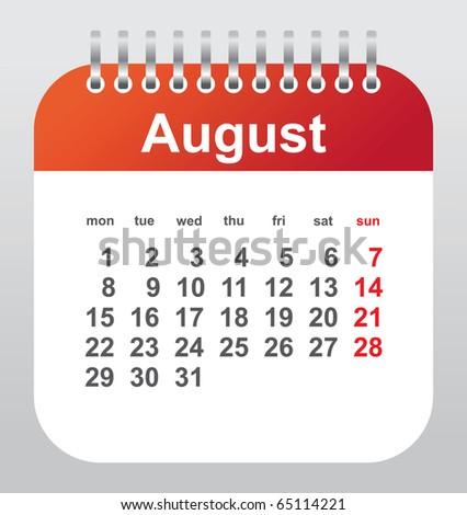 calendar 2011: august - stock vector